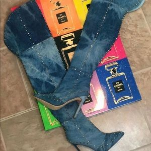 Shoes - 🔥🔥Distressed Denim Thigh High Boots 🔥🔥